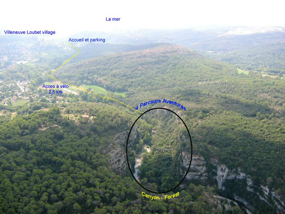 Descriptif de la position géographique de Canyon Forest